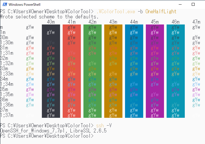 Color ToolのOneHalfLightを反映した例