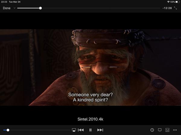Video file playback screen of VLC app.