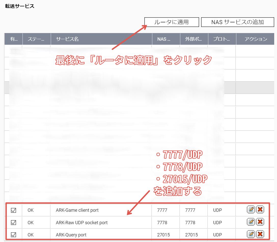 自動ルータ構成の設定-ポート開放