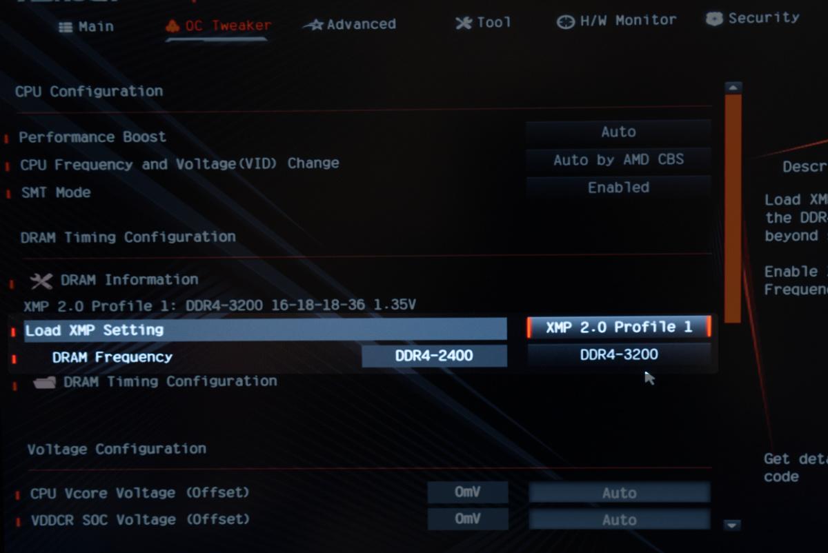 CFD W4U3200CX1-16GにXMPプロファイルを適用させる
